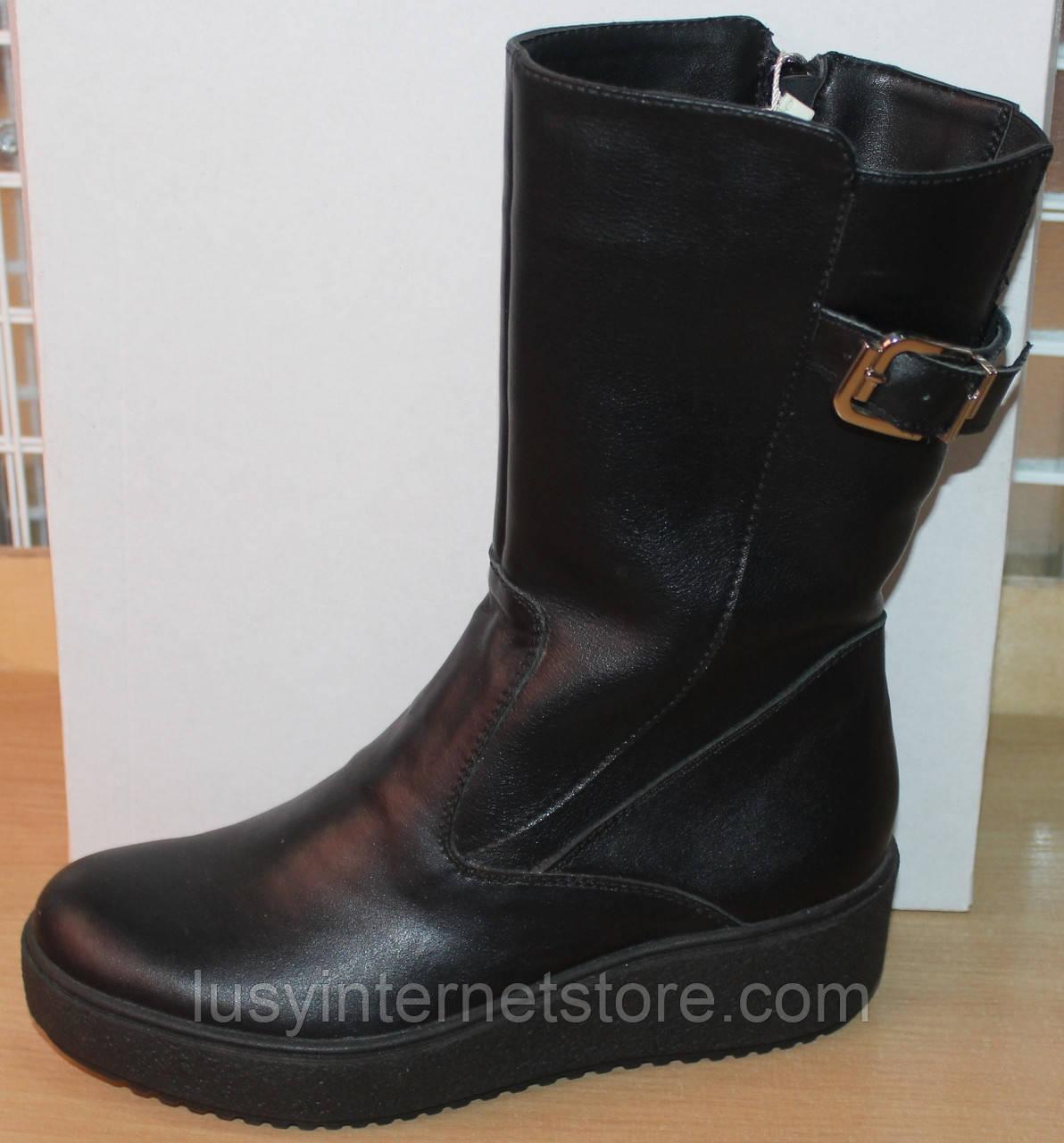 Сапоги зимние кожаные женские на широкую ногу от производителя модель СА251