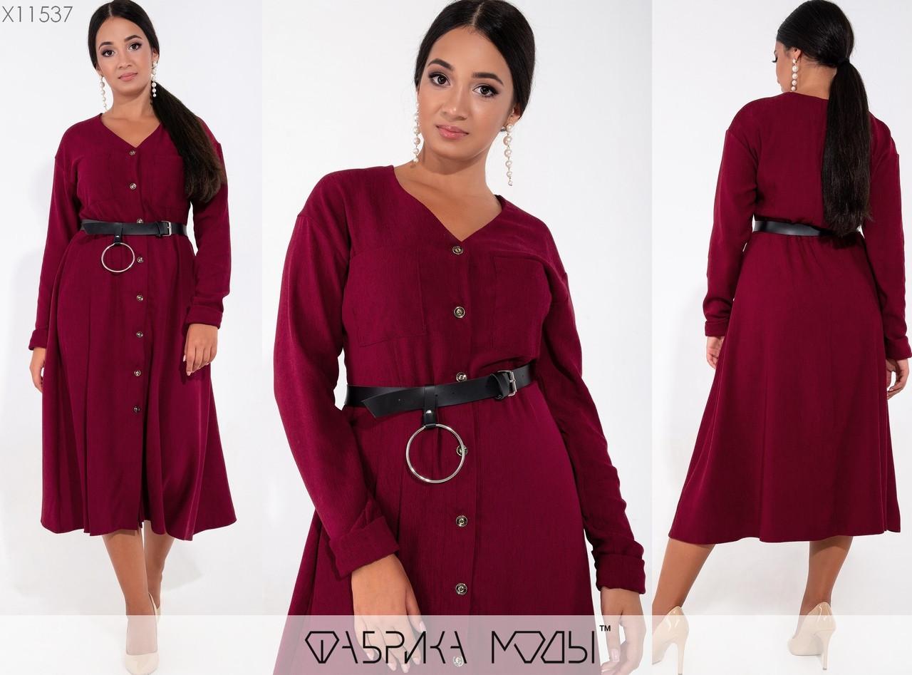 Вельветовое платье на пуговицах размеры: 48, 50, 52, 54