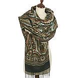 Город золотой 1643-60, павлопосадский шарф-палантин шерстяной с шелковой бахромой, фото 2
