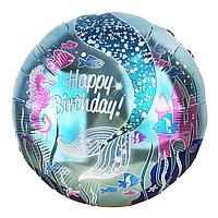 Фольгированный шар Море С днем рождения Китай, 45 см (18'')