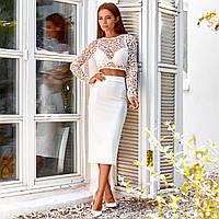 Женский костюм юбка с топом белый