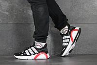 Кроссовки Adidas мужские, черный/белый, в стиле Адидас, текстильные, код SD-8344
