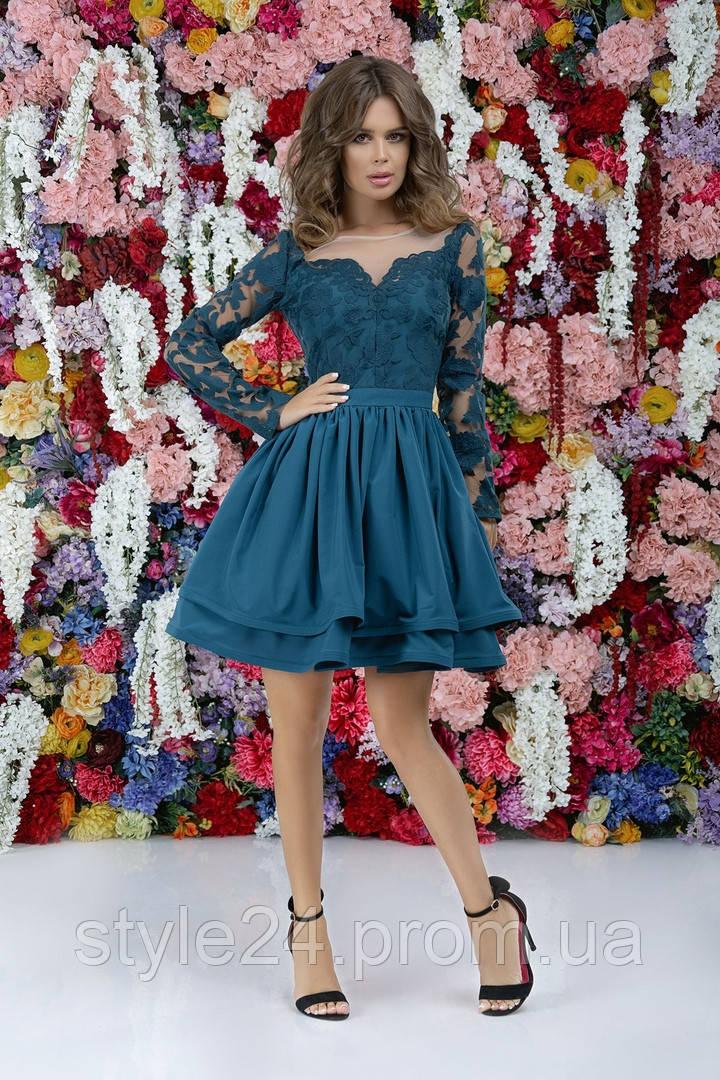 Стильне жіноче плаття з гіпюром та сіткою .Р-ри 42-46