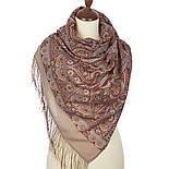 Романтическое свидание 1388-52, павлопосадский шарф шерстяной  с шелковой бахромой, фото 2