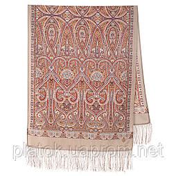 Романтичне побачення 1388-52, павлопосадский вовняний шарф з шовковою бахромою