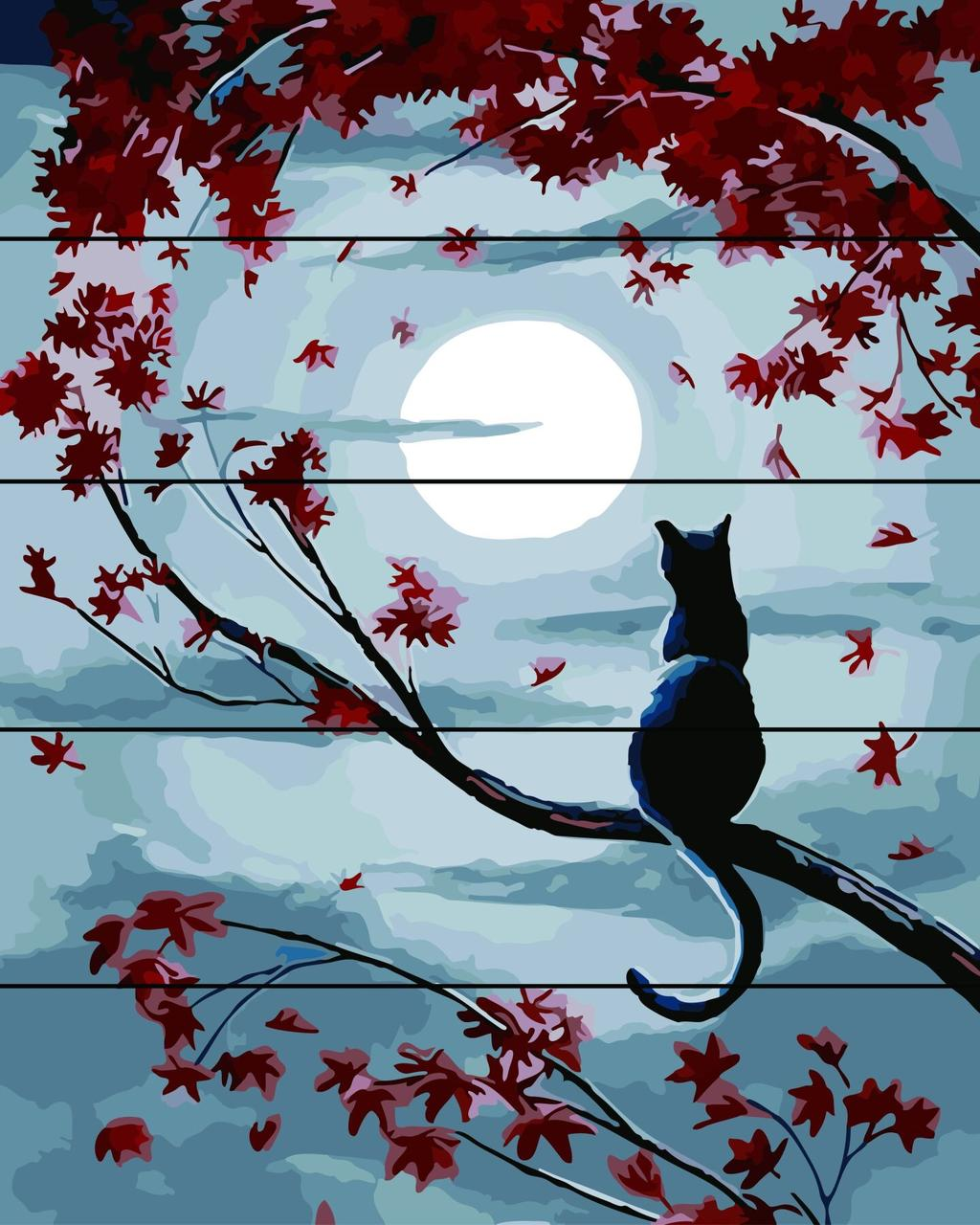 Картина по номерам по дереву Кот при луне Rainbow Art RA-AS0066 40 х 50 см