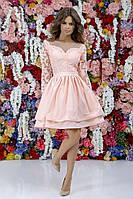Стильне жіноче плаття з гіпюром та сіткою .Р-ри 42-46, фото 1