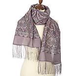 Романтическое свидание 1388-54, павлопосадский шарф шерстяной  с шелковой бахромой, фото 2