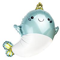 Фольгированный шар Дельфин-единорог голубой Китай, 62*50 (25')