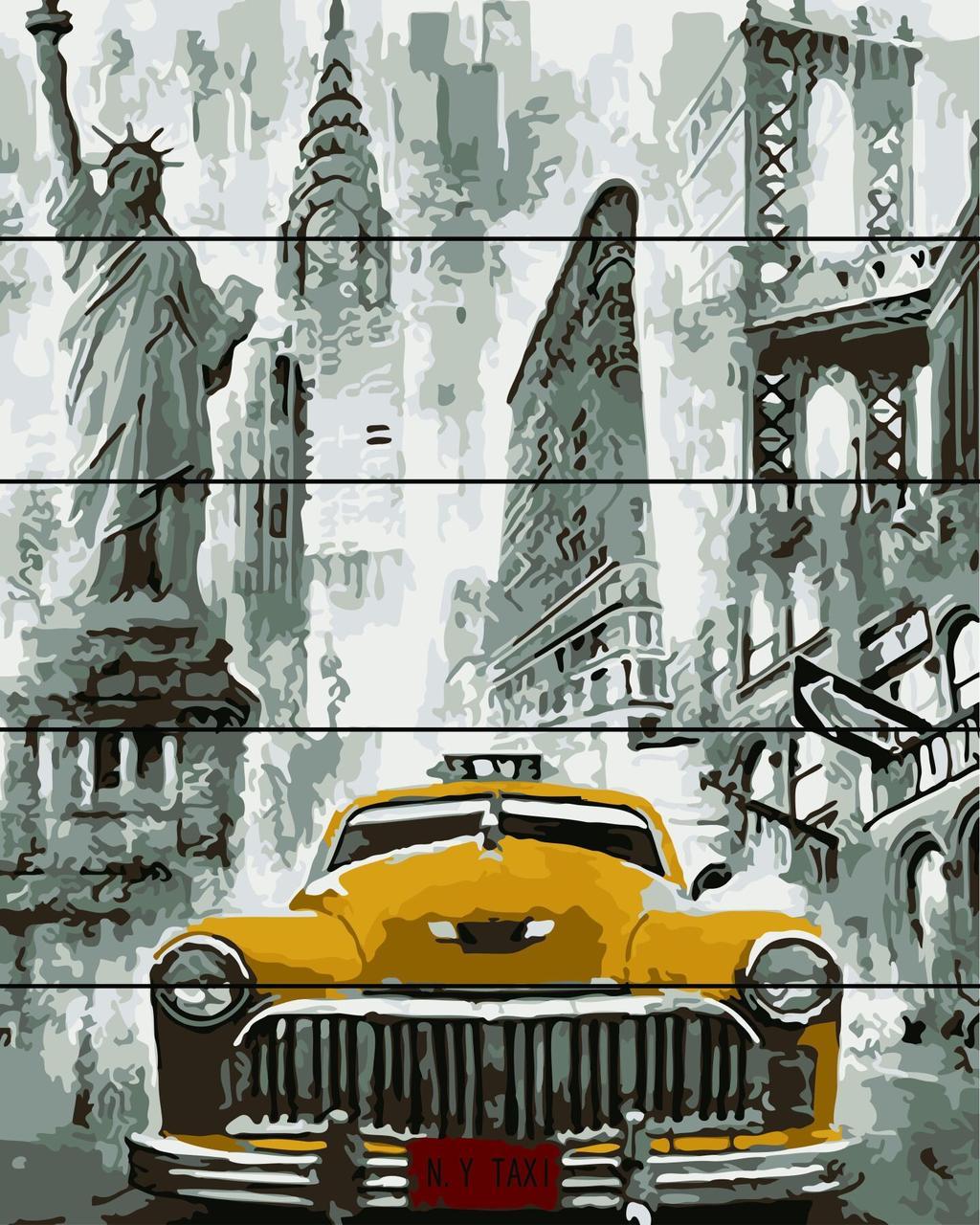 Картина по номерам по дереву Жёлтый автомобиль Rainbow Art RA-AS0091 40 х 50 см