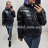 Женская куртка бочка зимняя ткань мемори водоотталкивающая плащевка наполнитель холлофайбер цвет черный