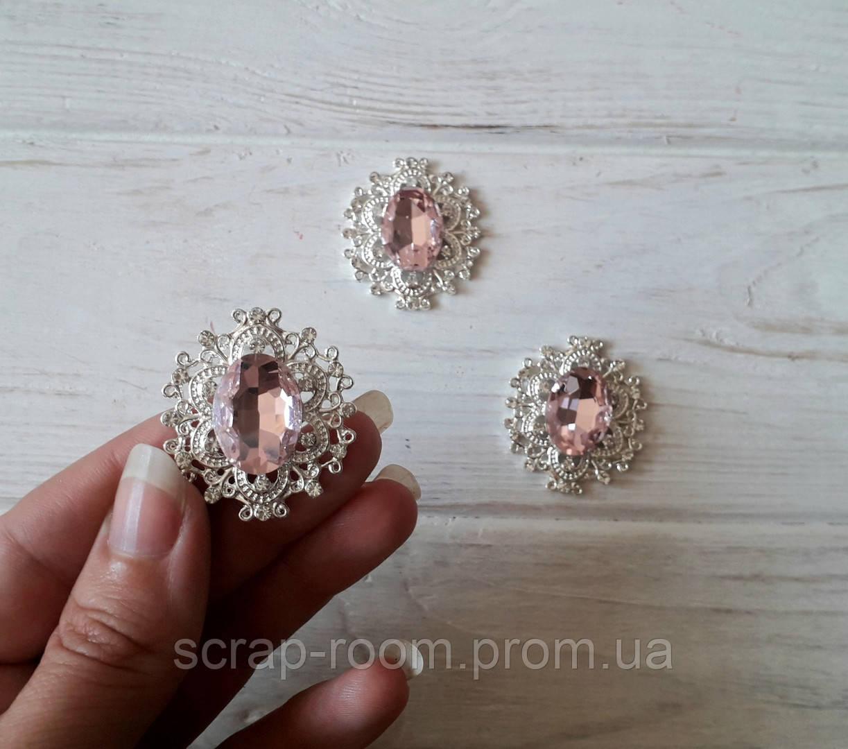 Брошь со стразами, брошь с розовым камнем, брошь с камнем, брошь свадебная, размер 28*32 мм, цена за шт
