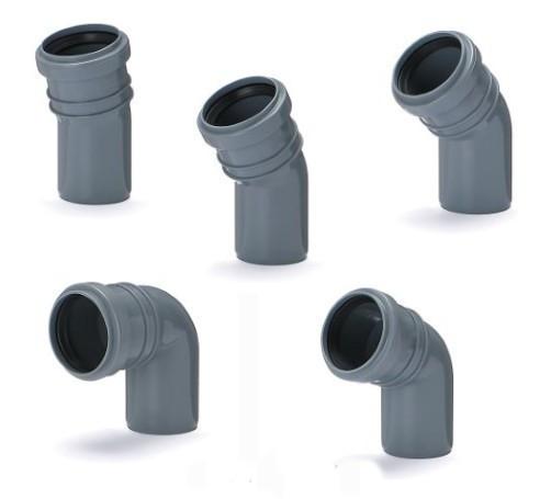 Колено для внутренней канализации Инсталпласт 50/22 (серое)