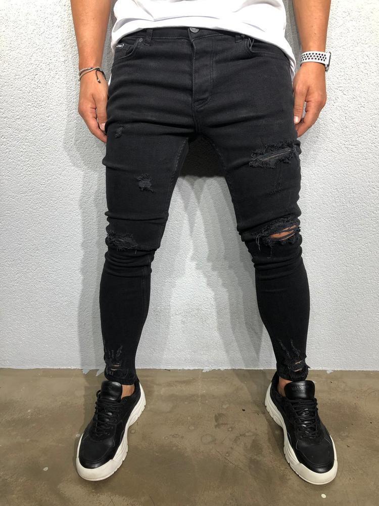 Мужские джинсы зауженные черные Black Island 6005 black