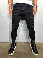 Мужские джинсы зауженные черные Black Island 6005 black, фото 1