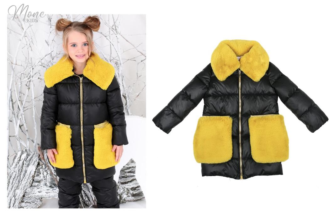 Зимняя куртка для девочки с меховыми карманами тм Моне р-р 116