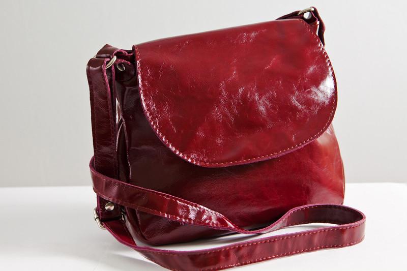 Женская сумка кожаная 05 бордовый наплак 01050307