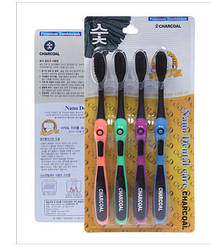Корейська Зубна щітка з бамбуковим вугільним напиленням 4шт в уп