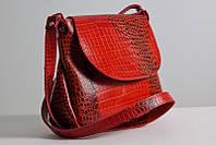 Кожаная сумочка женская. Модель 05 красный кайман