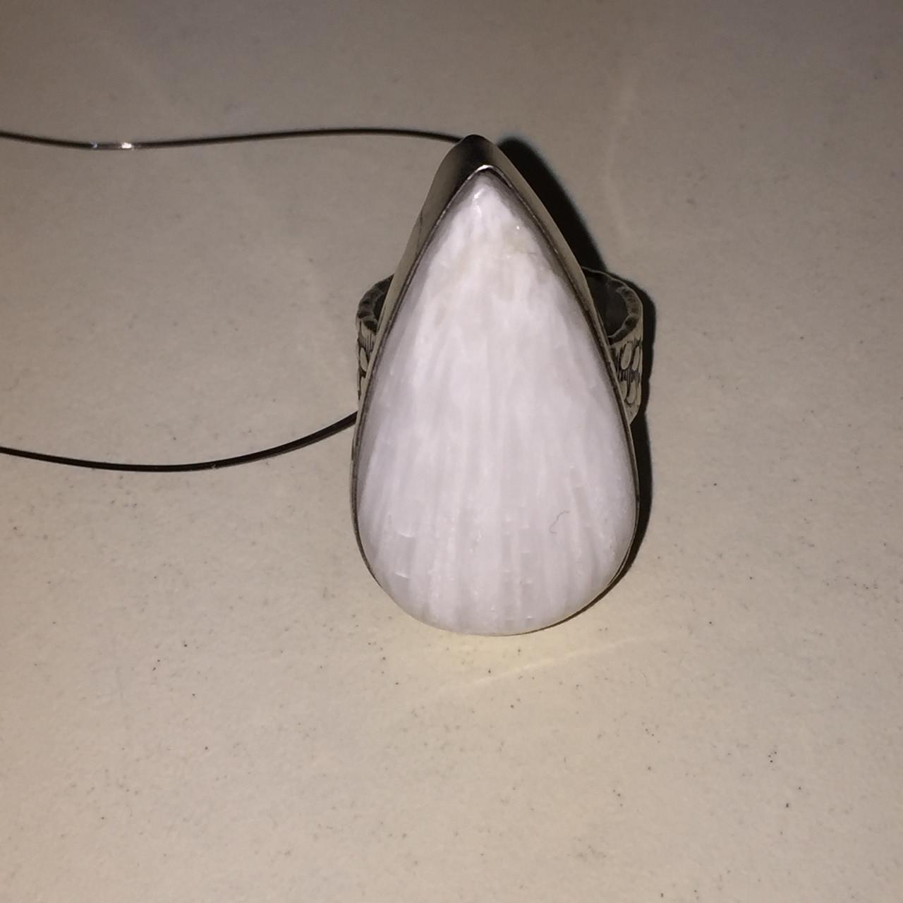 Сколецит кольцо капля с натуральным сколецитом в серебре размер 15,5-16 Индия