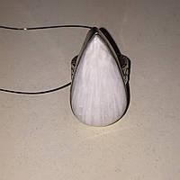 Сколецит кольцо капля с натуральным сколецитом в серебре размер 15,5-16 Индия, фото 1