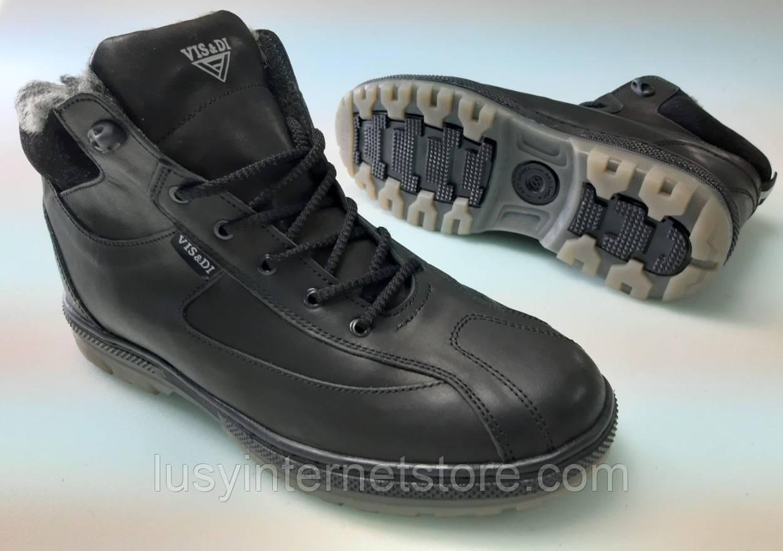 Ботинки зимние мужские кожаные на шнурках от производителя модель ДИБ29