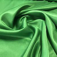 Атлас однотонный зеленый, ширина 150 см