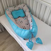 Кокон-гнездышко для новорожденных двухсторонний панды и бирюза