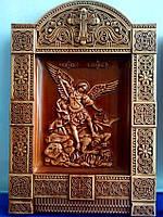 Резная икона из дерева Архангел Михаил 400х275х36 мм, фото 1