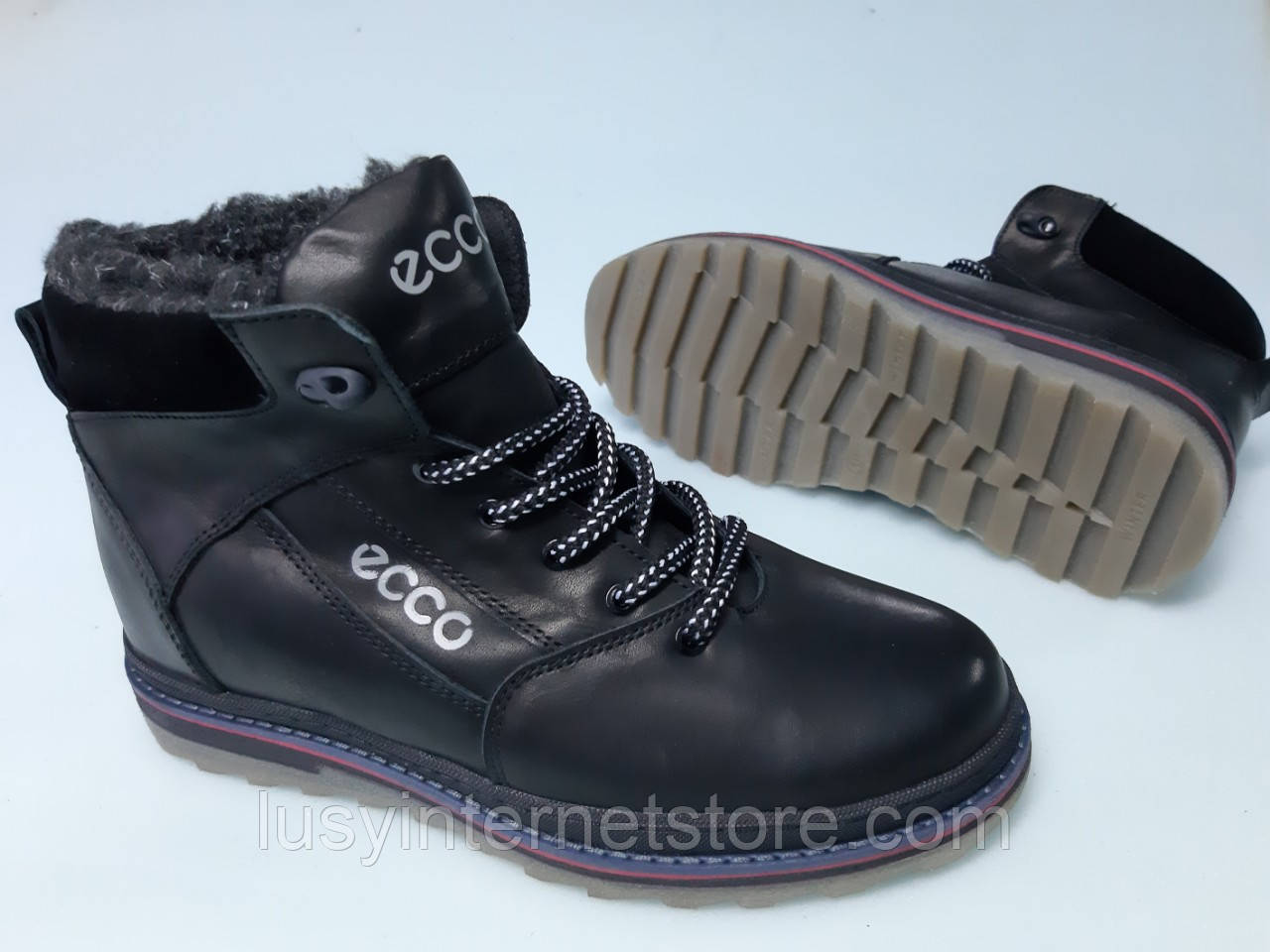 Ботинки зимние мужские кожаные на шнурках от производителя модель ДИБИ18