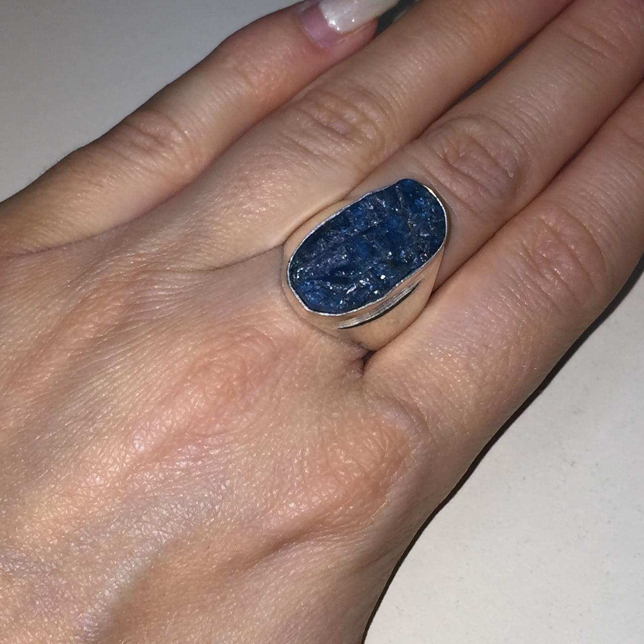 Апатит кольцо с натуральным апатитом 18 размер Индия!