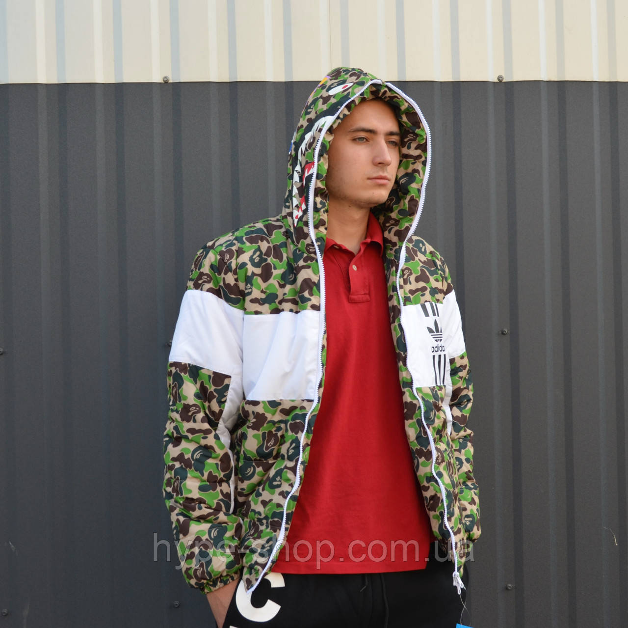 Зимняя мужская куртка в стиле Bape x Adidas | ТОП Качество!!