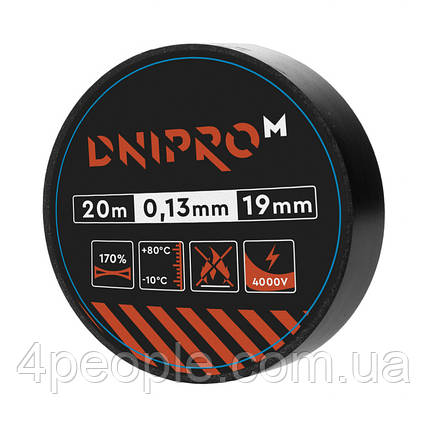 Изоляционная лента Dnipro-M 20 м 19 мм 0,13 мм черный 4000 В, фото 2