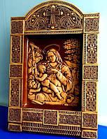 "Резная картина (панно) ""Мадонна с младенцем"" 400х275х36 мм, фото 1"