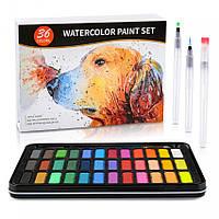 Профессиональные акварельные краски Professional Watercolor Paint Set 36 цветов в металлическом пенале + 3 кисточки + 8 листов (0709003)