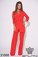 Женский брючный костюм красный (размеры S-M, L-XL)