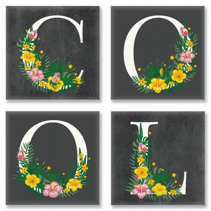 Раскраска по номерам Квартет Слово COOL Лофт CH115 Идейка 4 шт. по 18 х 18 см
