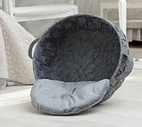 Корзинка-лежак для животных DigitalWool плетеная с подушкой Серый (DW-91-04)
