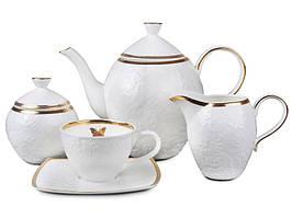 """Порцеляновий чайний набір на 6 персон """"Метелик"""" 200 мл Lefard 586-324"""