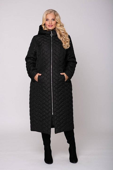 Стеганое пальто с капюшоном ЭЛИН черное (54-60)