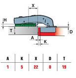 Меблева петля для ДСП рівнолежача 180 градусів з доводчиком Slide-on Linken System D=35 Н=0 НІКЕЛЬ, фото 2