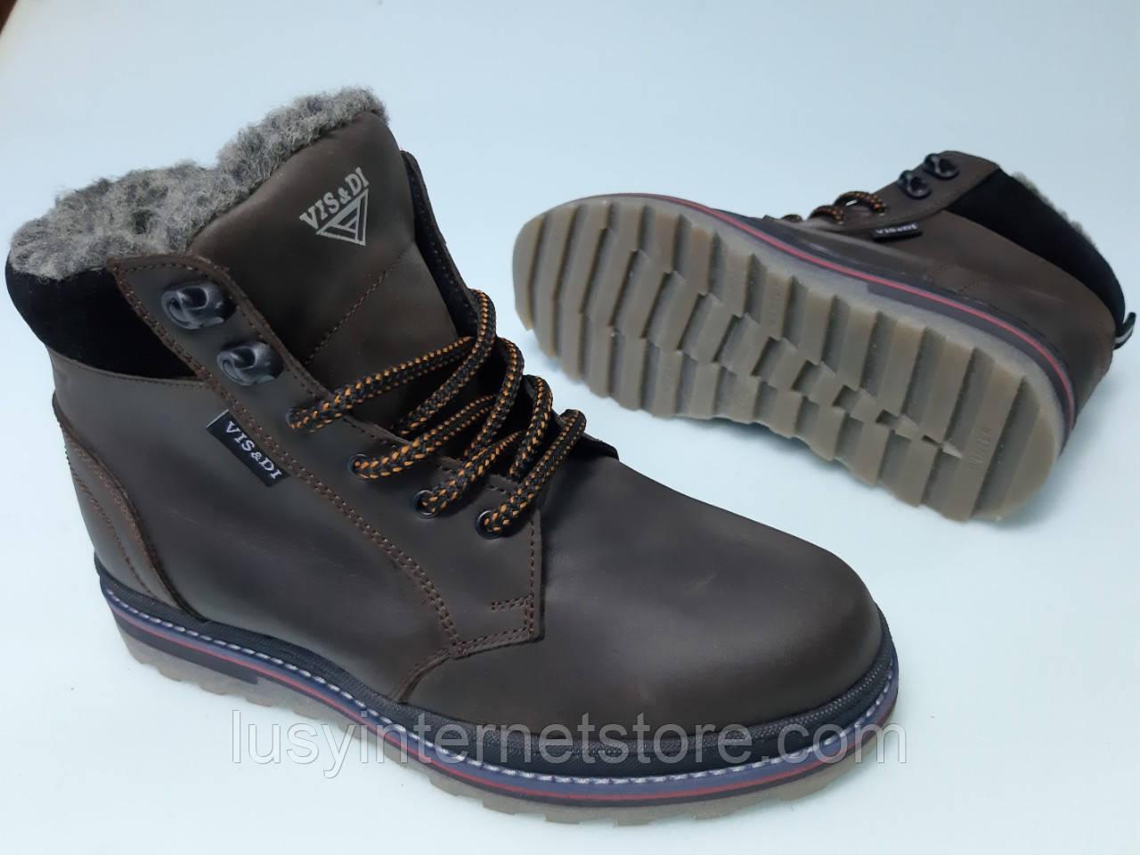 Ботинки зимние мужские кожаные на шнурках от производителя модель ДИБС16
