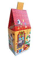 Подарункова коробка для цукерок на Миколая та Новий рік Червоний казковий будиночок