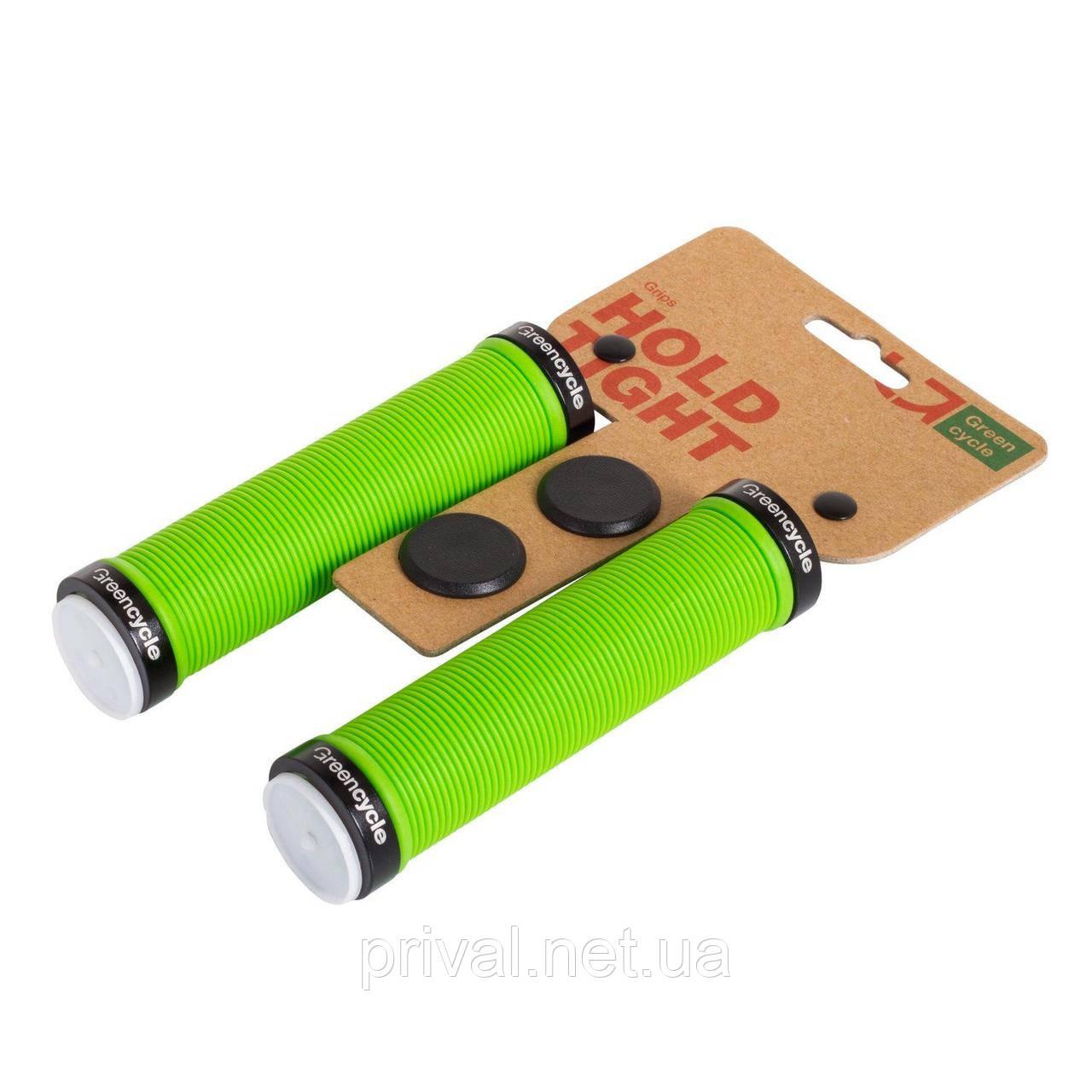 Грипсы Green Cycle GGR-421 130mm зеленый с двумя черными замками
