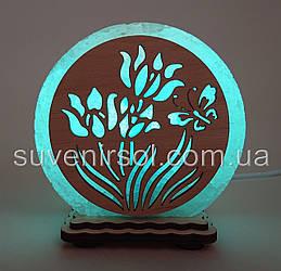 """Соляная лампа круглая маленькая """"Цветы и бабочка"""""""