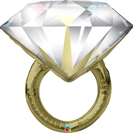 Фол шар фигура Обручальное кольцо с большим бриллиантом Золото (Qualatex), фото 2