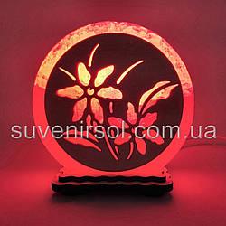 """Соляная лампа круглая маленькая """"Цветы"""""""