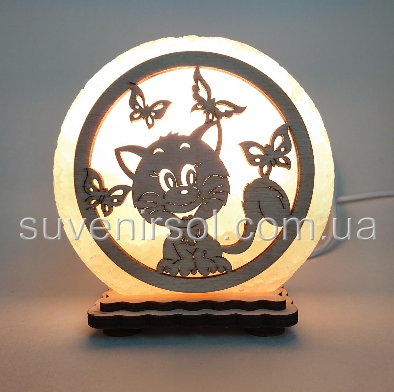 "Соляная лампа круглая маленькая ""Кот и бабочки"""
