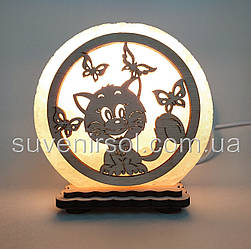 "Соляна лампа маленька кругла ""Кіт і метелики"""