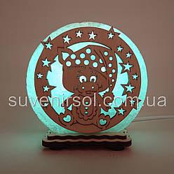 """Соляна лампа маленька кругла """"Хрюша в зірках"""""""